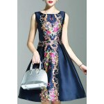 Stylish Round Neck Sleeveless Elegant Printed Women's Dress