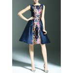 Stylish Round Neck Sleeveless Elegant Printed Women's Dress deal