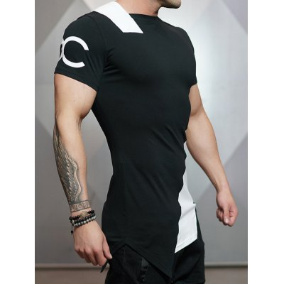 Asymmetric Color Block Short Sleeve TeeMens Short Sleeve Tees<br>Asymmetric Color Block Short Sleeve Tee<br><br>Collar: Round Neck<br>Material: Modal, Polyester<br>Package Contents: 1 x Tee<br>Pattern Type: Patchwork<br>Sleeve Length: Short<br>Style: Active<br>Weight: 0.210kg