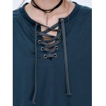 Lace Up Drop Shoulder Pullover Sweatshirt photo