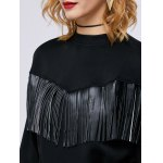Faux Leather Insert Fringed Sweatshirt for sale