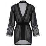 Long Sleeve Lace Panel Sheer Wrap Robe deal