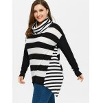 cheap Plus Size Striped Turtleneck Asymmetric Sweater