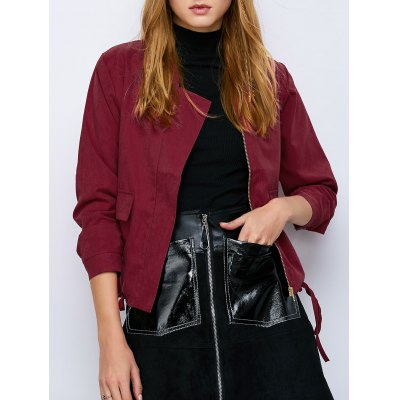 Drawstring Waist Zip  Jacket