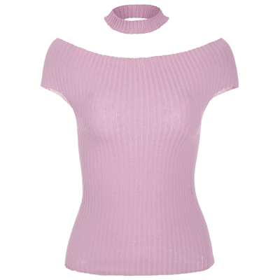 Off The Shoulder Ribbed Choker Knitwear
