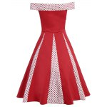 best Vintage Polka Dot Insert High Waist Dress