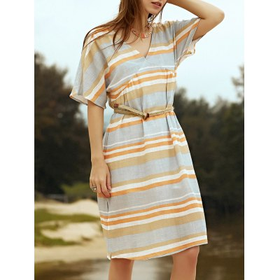 Plunging Neck Short Sleeve Belted Striped Dress