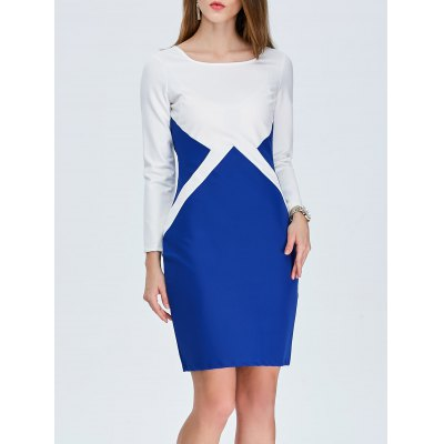 Color Block Mini Sheath Dress