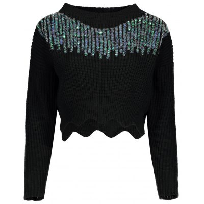 Sequins Embellished Cropped Sweater