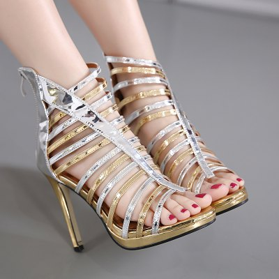 Strappy Patent Leather Zipper Sandals