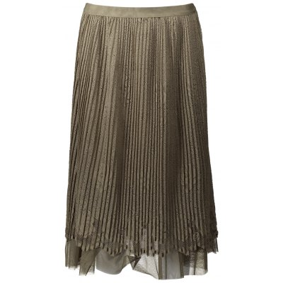 Pleated Mesh Panel Lace Skirt