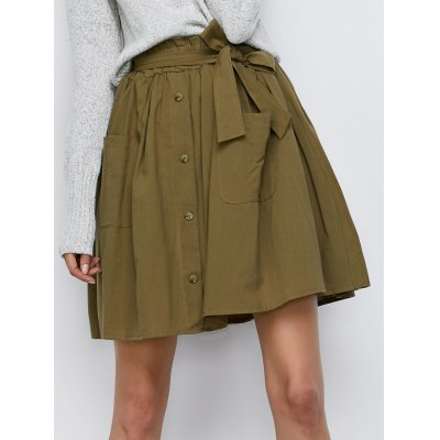 Belted Button Up Mini Skirt