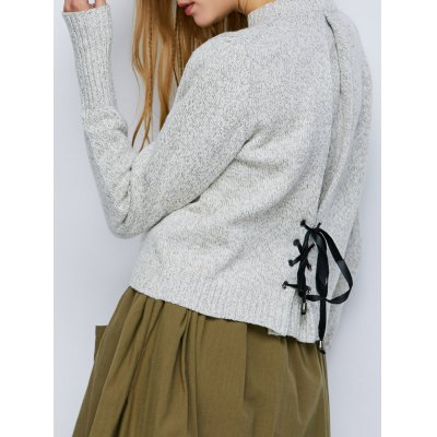 Heathered Crew Neck Lace-Up Sweater