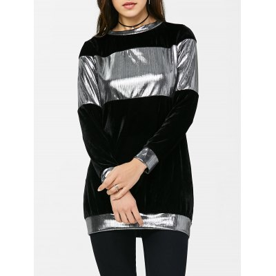 Crew Neck Velvet Panel Sweatshirt
