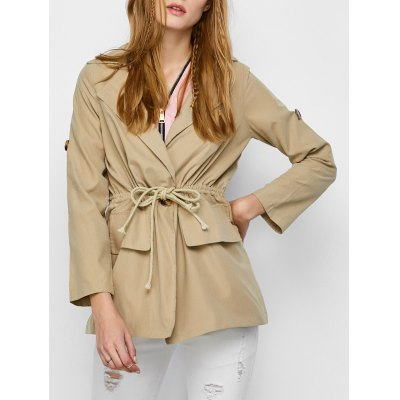 Drawstring Flap Pocket Trench Jacket