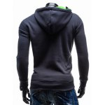 cheap Side Zip Up Contrast Color Pullover Hoodie