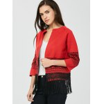 cheap Open Front Graphic Fringe Cardigan