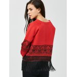 Open Front Graphic Fringe Cardigan deal