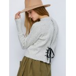 Crew Neck Heathered Lace-Up Sweater for sale