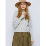 cheap Crew Neck Heathered Lace-Up Sweater