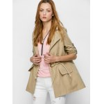 cheap Flap Pocket Drawstring Trench Jacket