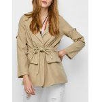 Flap Pocket Drawstring Trench Jacket