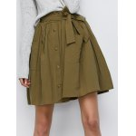 Button Up Belted Mini Skirt