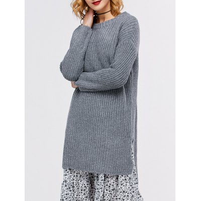 Long Crew Neck High Low Tunic Sweater
