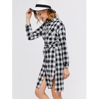 Check Plaid Long Sleeve Mini Shirt DressLong Sleeve Dresses<br>Check Plaid Long Sleeve Mini Shirt Dress<br><br>Dresses Length: Mini<br>Material: Polyester<br>Neckline: Shirt Collar<br>Package Contents: 1 x Dress  1 x Belt<br>Pattern Type: Plaid<br>Season: Fall, Spring<br>Silhouette: Straight<br>Sleeve Length: Long Sleeves<br>Style: Casual<br>Weight: 0.2500kg<br>With Belt: Yes