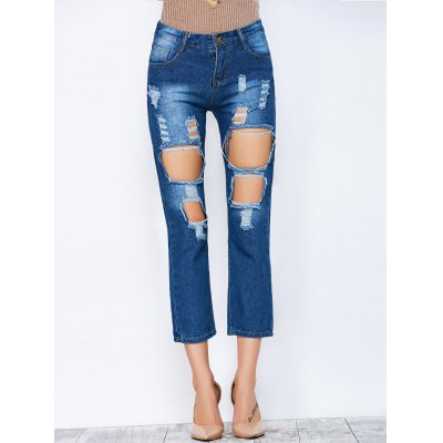 Straight  Cropped Distressed Jeans