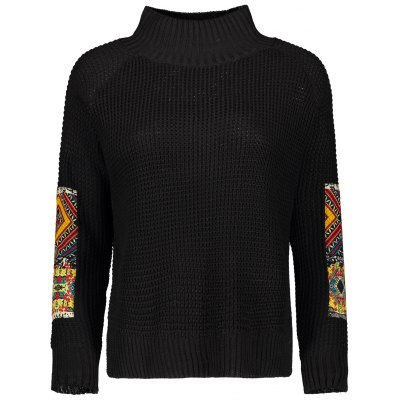 Patched Mock Neck Knit Sweater