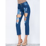 Straight  Cropped Distressed Jeans for sale