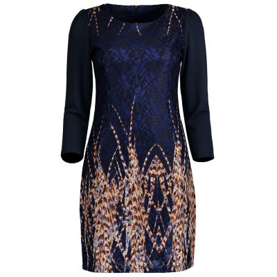 Lace Panel Printed Fitted Dress