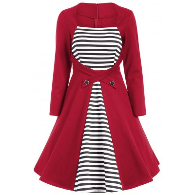 Square Collar Striped Skater Dress with Long Sleeves