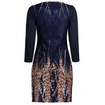 cheap Lace Panel Printed Fitted Dress