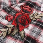 Floral Embroidered Patched Tartan Shirt photo