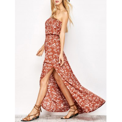 Maxi Strapless Floral Beach Dress with Slit