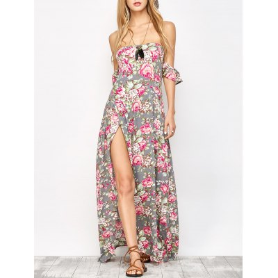 Maxi Off Shoulder Floral Beach Dress with Slit