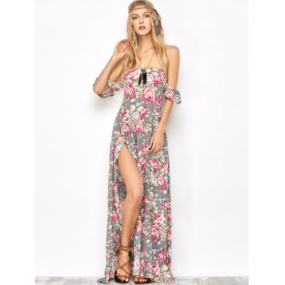 Maxi Off Shoulder Floral Beach Dress with SlitMaxi Dresses<br>Maxi Off Shoulder Floral Beach Dress with Slit<br><br>Dresses Length: Ankle-Length<br>Material: Viscose<br>Neckline: Off The Shoulder<br>Occasion: Beach &amp; Summer, Night Out<br>Package Contents: 1 x Dress<br>Pattern Type: Floral<br>Season: Fall, Spring, Summer<br>Sleeve Length: Short Sleeves<br>Trending Now: Off The Shoulder<br>Weight: 0.370kg<br>With Belt: No