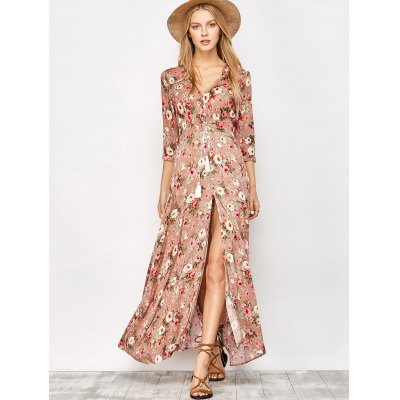 Button Front Floral Casual Summer Maxi DressMaxi Dresses<br>Button Front Floral Casual Summer Maxi Dress<br><br>Dresses Length: Ankle-Length<br>Material: Viscose<br>Neckline: V-Neck<br>Occasion: Beach &amp; Summer, Night Out<br>Package Contents: 1 x Dress<br>Pattern Type: Floral<br>Season: Fall, Spring, Summer<br>Sleeve Length: 3/4 Length Sleeves<br>Weight: 0.420kg<br>With Belt: No