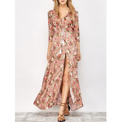 Button Front Floral Casual Summer Maxi Dress