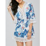 Lace Trim Paisley Mini Dress