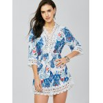 cheap Lace Trim Paisley Mini Dress