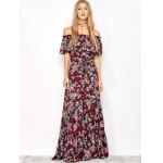 cheap Off The Shoulder Maxi Floral Flowing Dress