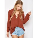 cheap Lace Up Long Sleeve Top