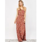 cheap Maxi Strapless Floral Beach Dress with Slit