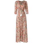 Button Front Floral Casual Summer Maxi Dress deal