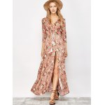 cheap Button Front Floral Casual Summer Maxi Dress