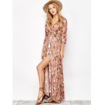 Button Front Floral Casual Summer Maxi Dress for sale