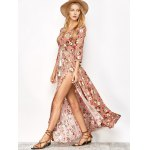 best Button Front Floral Casual Summer Maxi Dress
